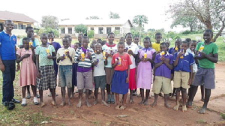 Pupils of Kigumbya CHANCE school posing for a foto after a session on consultation on Child Protection issues.